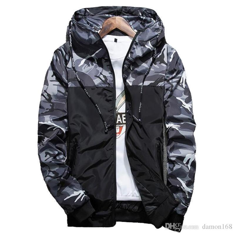 Sıcak İlkbahar Sonbahar Erkekler S Kamuflaj Coat Erkek Kapüşonlular Casual Ceket Marka Giyim Erkek WINDBREAKER Coats Erkek Dış Giyim 5XL l