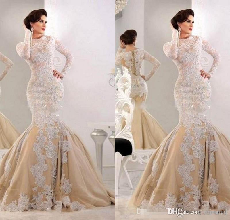 2020 Elegant Lace Mermaid Long Evening Dresses Jewel Long Sleeves Sequins Formal Party Gowns Sweep Train Plus Size Evening Dress Custom Made