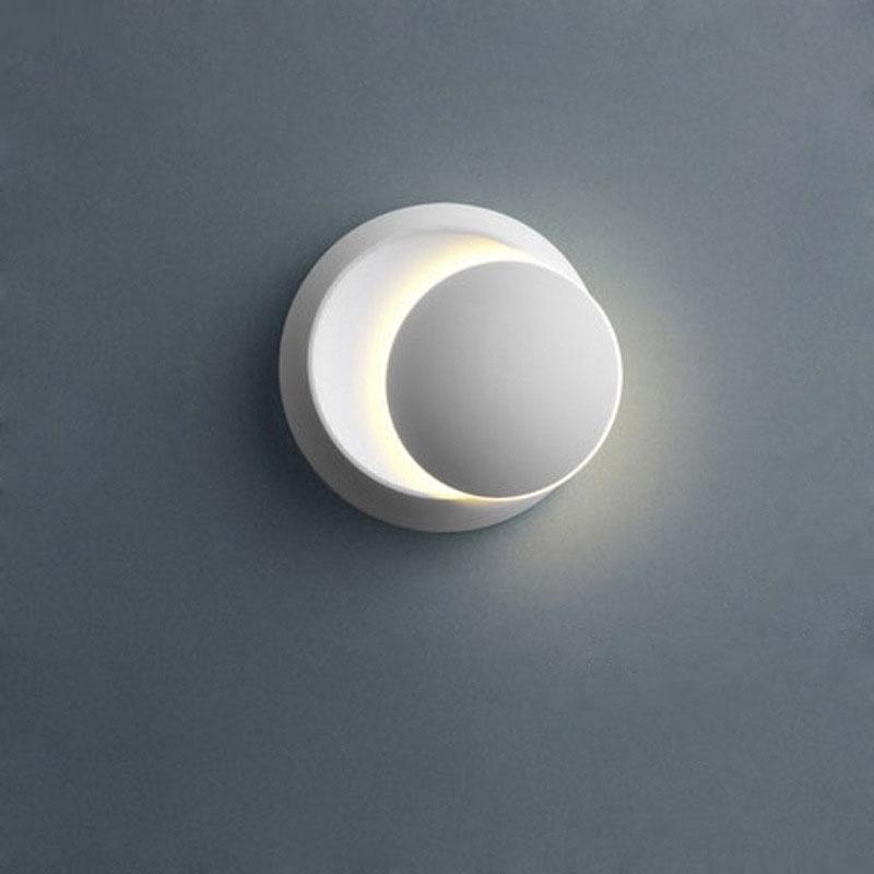BRELONG 간단한 창조적 인 침대 옆 램프 침실 거실 계단 통로 LED 라운드 초승달 벽 램프 1 개
