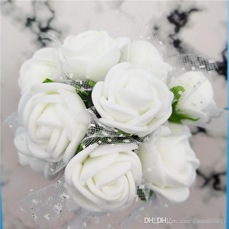144pcs Artificial Flowers Mini Foam Roses with stem Wedding Party Bouquet Decor.