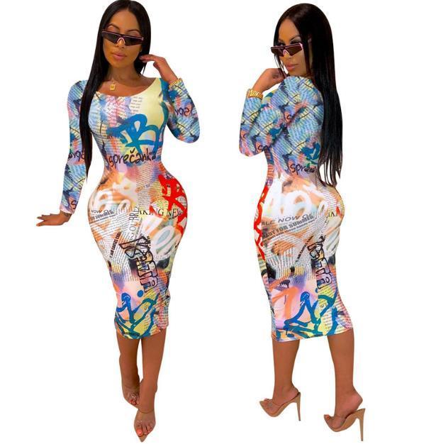 Harf Baskı Günlük Elbiseler Moda Kasetli 3D Dijital Kadın BODYCON Elbiseler Tasarımcı Dişiler Giyim yazdır Womens