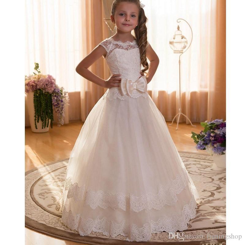 Compre Vestidos De Primera Comunión Para Niñas 2019 Scoop Backless Apliques Vestido De Flores Niñas Arcos Tul Vestido De Gala Vestidos Para Niñas A