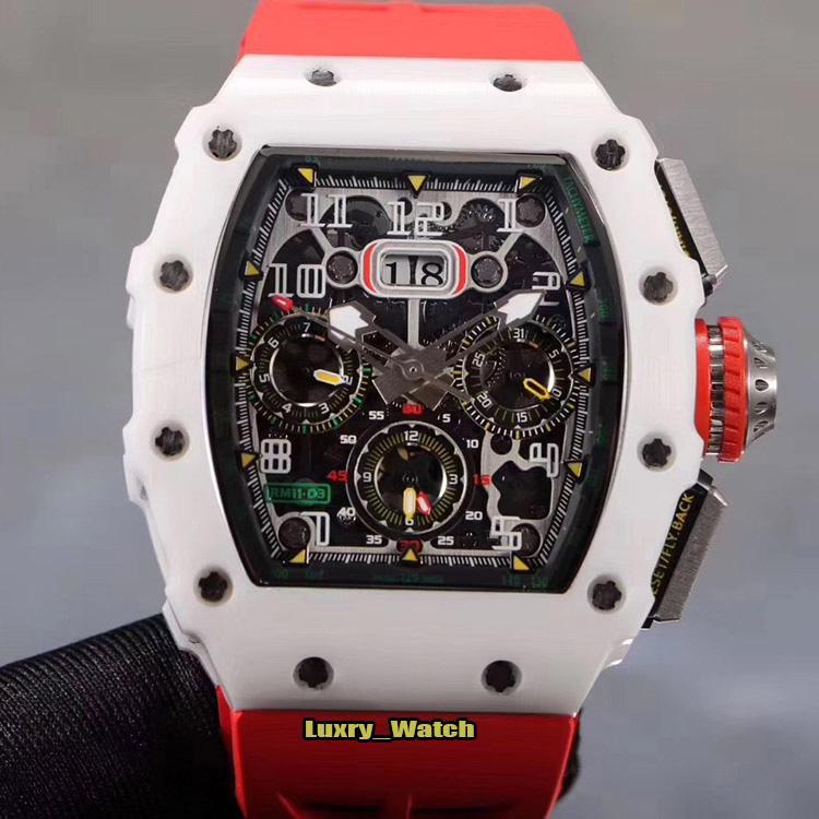 Melhor Qualidade RM 11-03 ATZ cerâmicos Caso Esqueleto Dial Flyback Chrono Automatic RM11-03 Mens Watch azul pulseira de borracha Designer Desporto Relógios