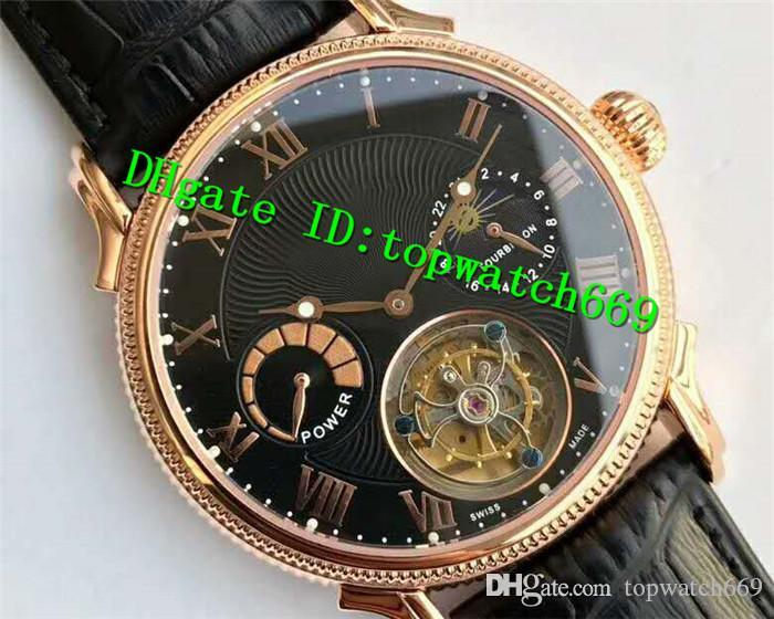 V6 Top Luxury Watch Real Tourbillon Moonphase Power Reserve Rose Gold Black Dial Black Leather Strap Swiss Manual Winding Men Watch