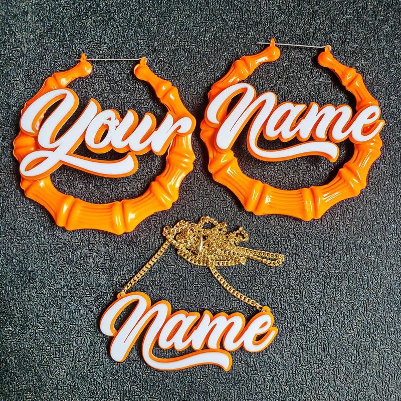 여성 네온 컬러 큰 이름 대나무 귀걸이 Brincos위한 새로운 펑크 연예인 농구 아내 사용자 개인 귀걸이