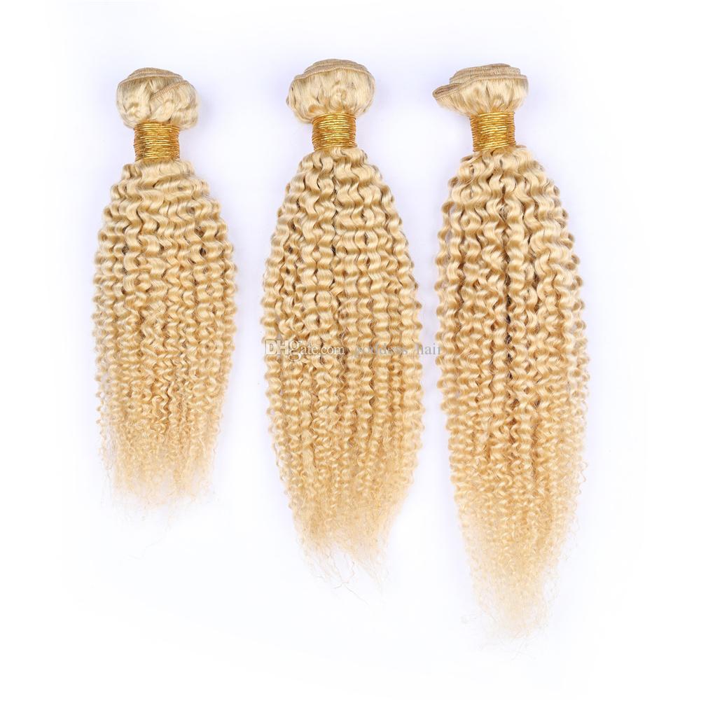 Venta caliente Brasileño Rubio Color paquetes de cabello humano 3 Unids Lightest Blonde Funmi Hair Weave Afro Extensiones de Cabello Rizado Doble Wefted