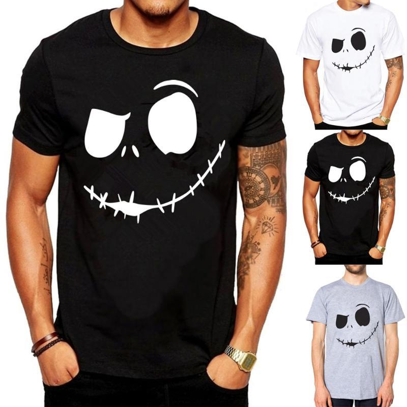 Pullover Mens Summer New Evil Smile Face Printed Round-Collar Comfortable T-Shirt Top S-3XL