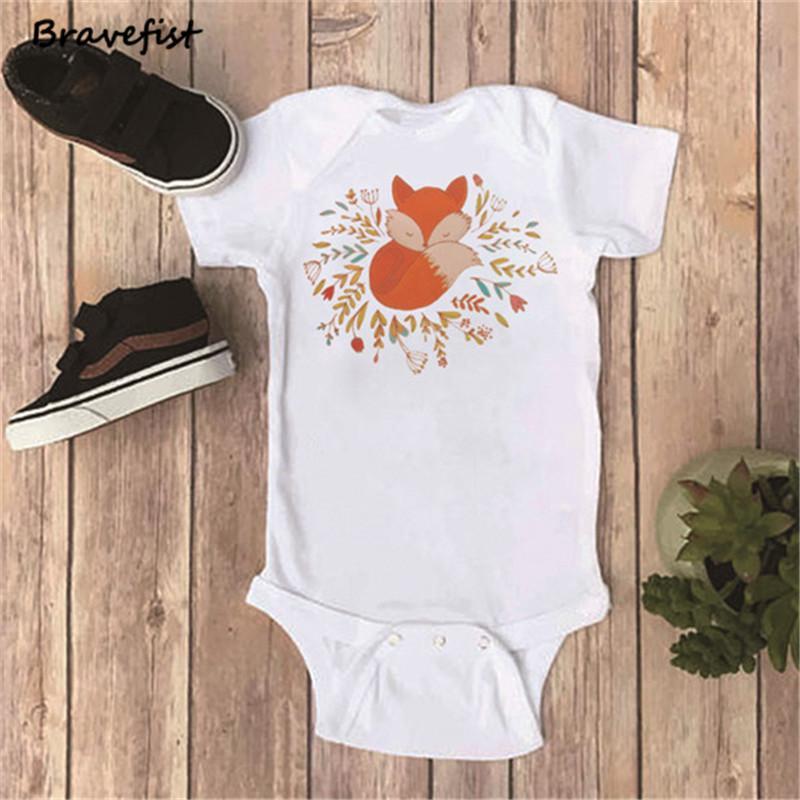 Las muchachas del verano de los muchachos de Niños Baby Body mono y una piezas ropa recién Trajes infantil para niños de los muchachos Body Ropa Fox Onesie