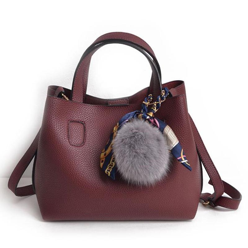 Mulheres Handbag Moda suave Pu Couro Composite Saco Tassel Balde sacos de ombro para as mulheres Big Lenços Bolsas Pequenas Bolsa