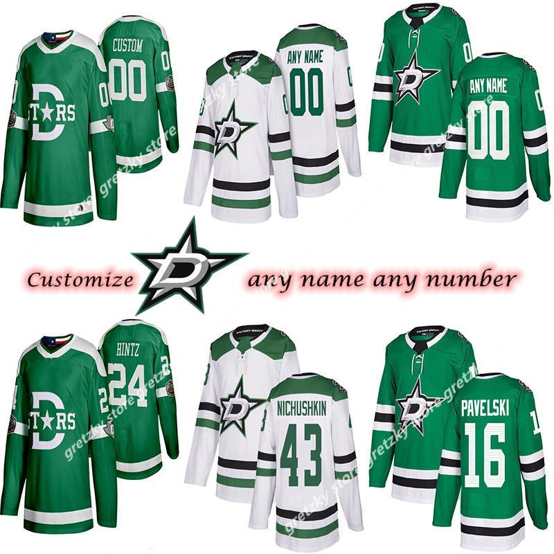Benutzerdefinierte Männer Kinder Frauen Dallas Stars Trikots 91 Tyler Seguin 14 Benn 30 Bishop 16 Pavelski anpassen eine beliebige Anzahl beliebiger Name Hockey Jersey