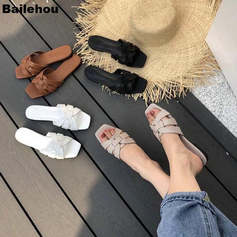 Bailehou 2019 Yeni Düz Casual Terlik Günlük Yaz Beach Ayaklı tatil Sandal Ayakkabı Markası Slayt Açık Terlik Kadın Floplar
