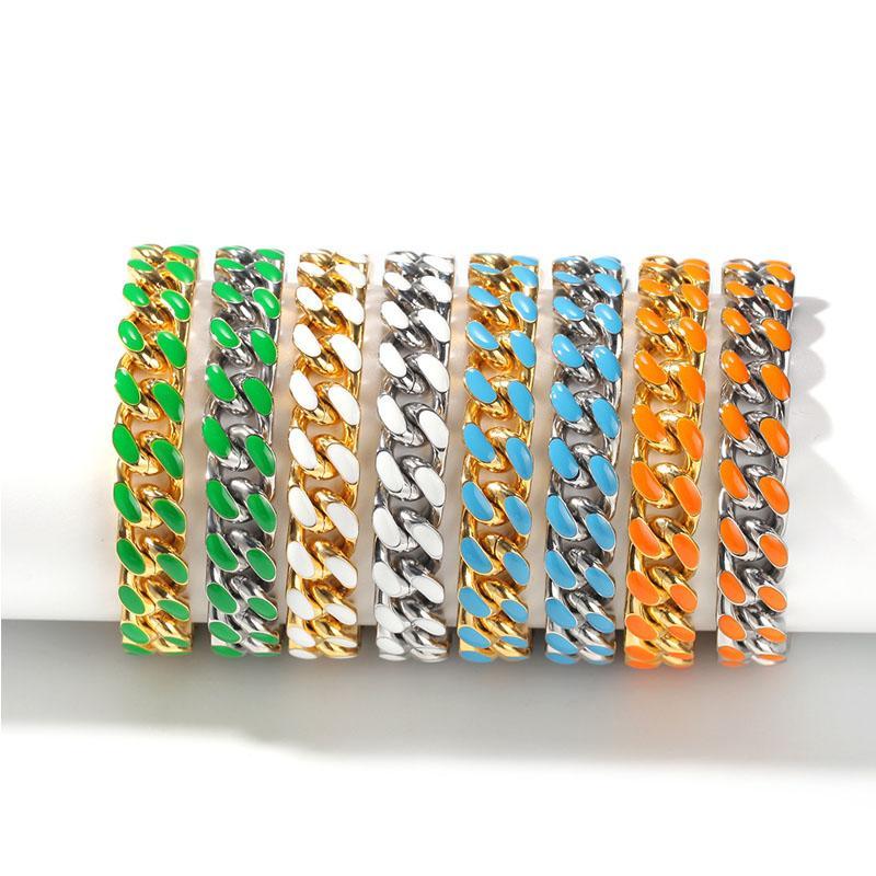 Hip Hop Uomo Bracciale Rapper in acciaio inox a goccia colorata cubana catena del braccialetto di modo di tendenza Bracciale Ornamento per unisex 8 colori U6FZ