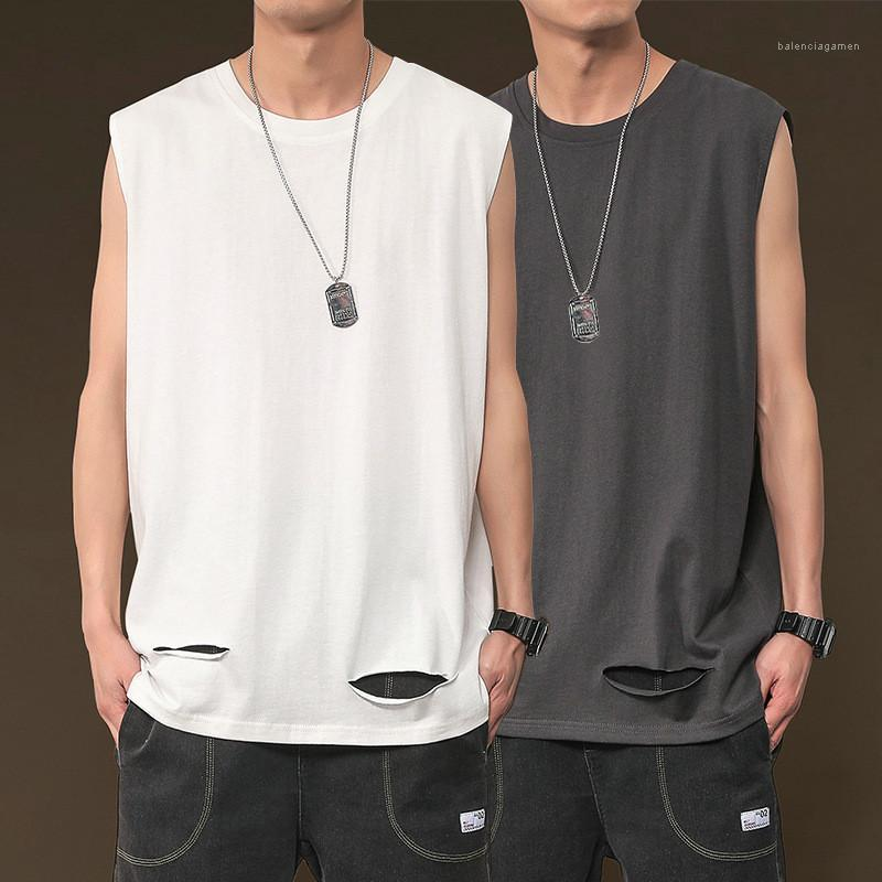 Tank Top Summer Hip Hop Style Loose Solid Color Tees Crew Neck Top Mens Sports Sleeveless