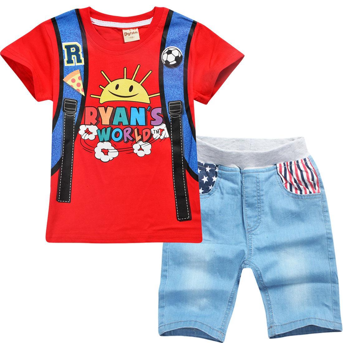 3T-10T Boy's Set Футболка и джинсы с коротким рукавом Большие дети 2 шт. Набор мультфильм мода повседневные летние детские костюмы