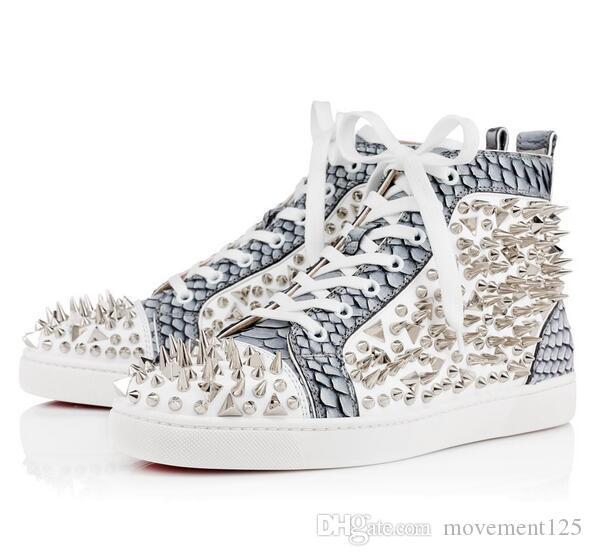 Chaussures bas rouges Pik Pik Rivets Sneakers Chaussures femmes, chaussures de marche causales hommes, formateurs occasionnels de chaussures de plein air avec la robe de mariage de fête35-46