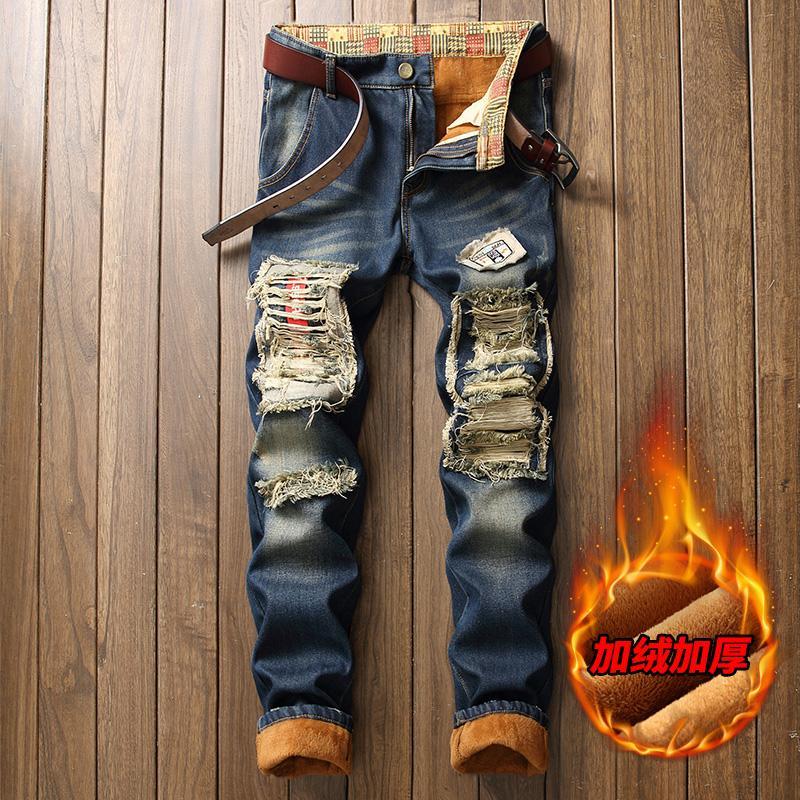 Зима теплая Ripped Байкер вышивки Печать джинсовой высокого качества Jean Slim Fit джинсы Мужские брюки мужская Брюки Straight