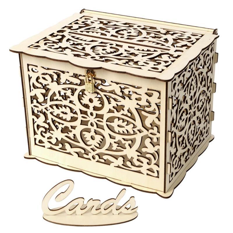 Creux bricolage mariage carte-cadeau Boîte de conteneur Boîte en bois avec l'argent de verrouillage de soirée de mariage fournitures Décoration Drop Shipping