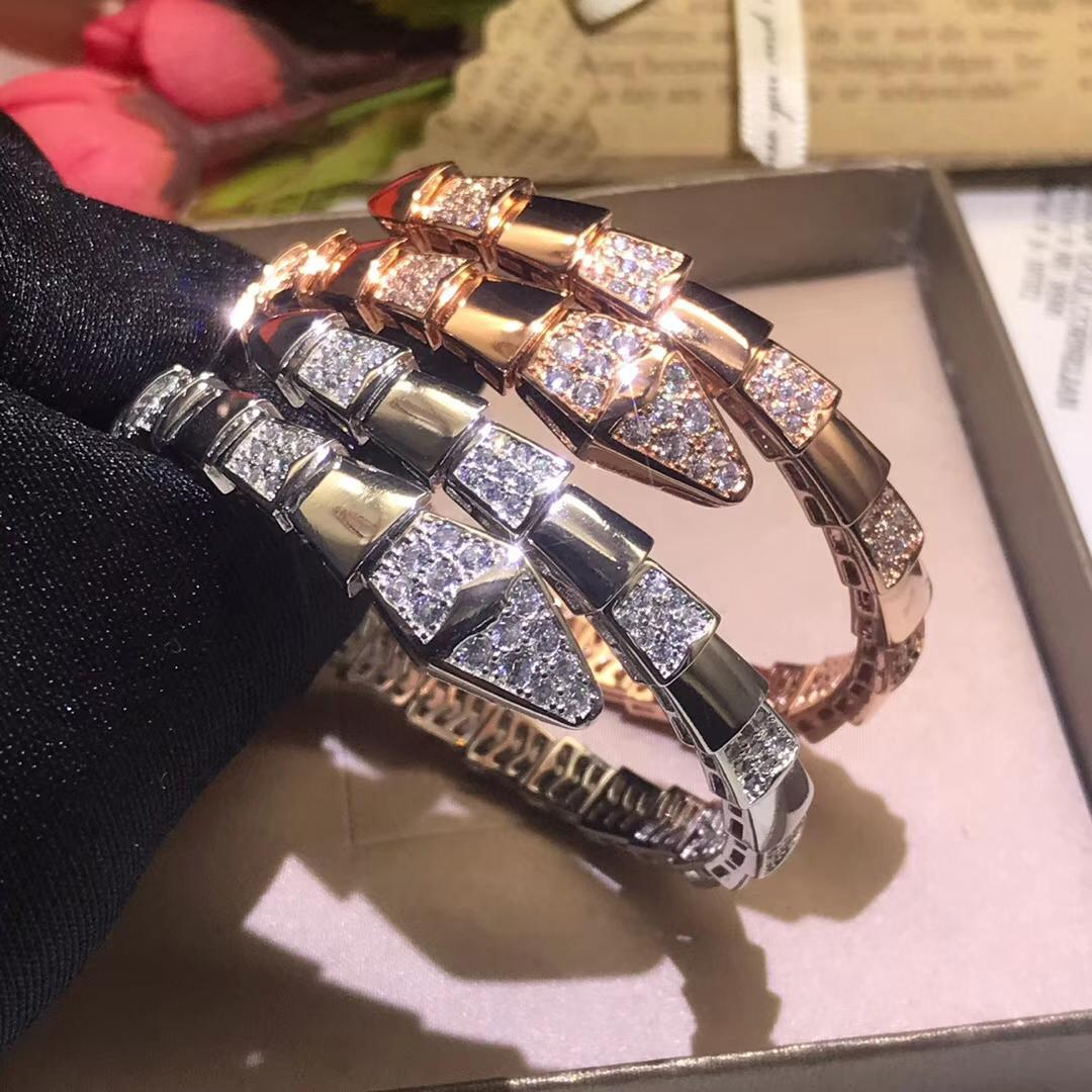 Luxury Fashion elastic snake zircon CZdiamond cuff bracelet bangle designer copper party jewelry 18K gold plated for women