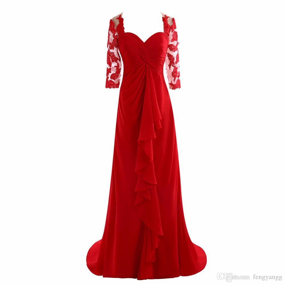 أنيقة شير نصف الأكمام يزين الشيفون الأم من فساتين العروس لحفلات الزفاف خمر زر أحمر الظهر طويل مساء اللباس الرسمي
