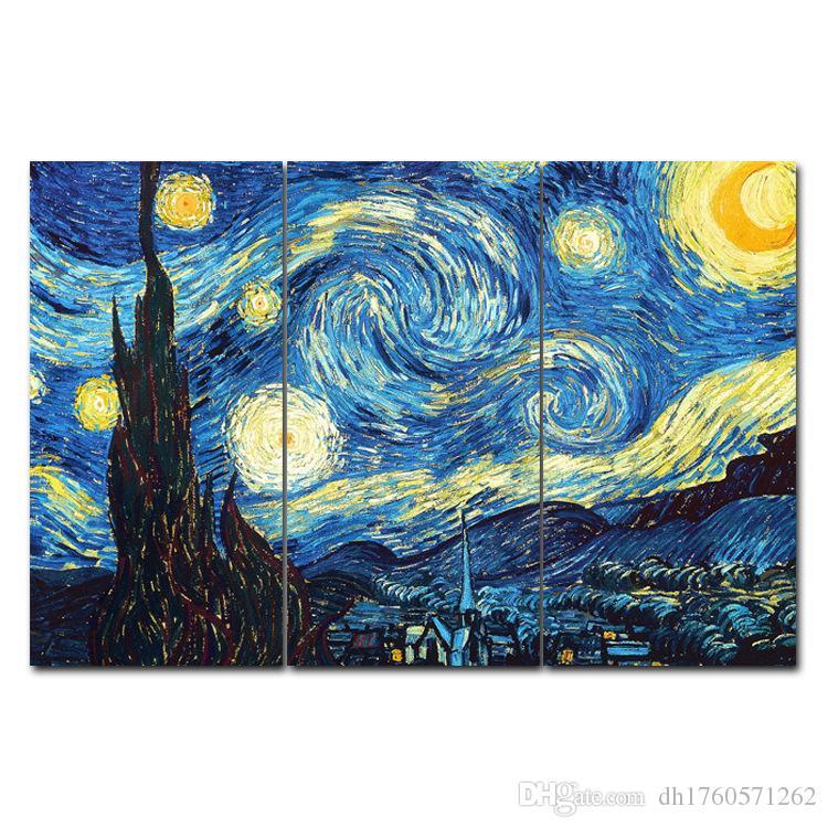 Dünya Klasik Ünlü Yağlı Boya Ev Dekorasyon Resim Van Gogh Yıldız Sky Üçlü Tuval Resim Çekirdek Fresco Asma boyama