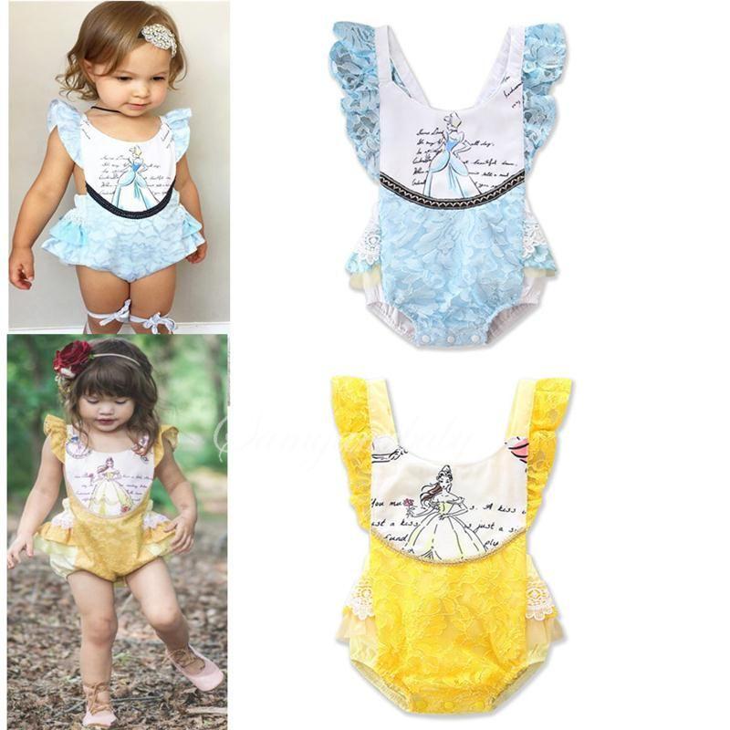 Детские кружева рукавов Romper малышей Принцесса Печатные Комбинезоны лето Дети Ruffle Скалолазание Одежда Желтый Синий Цвет