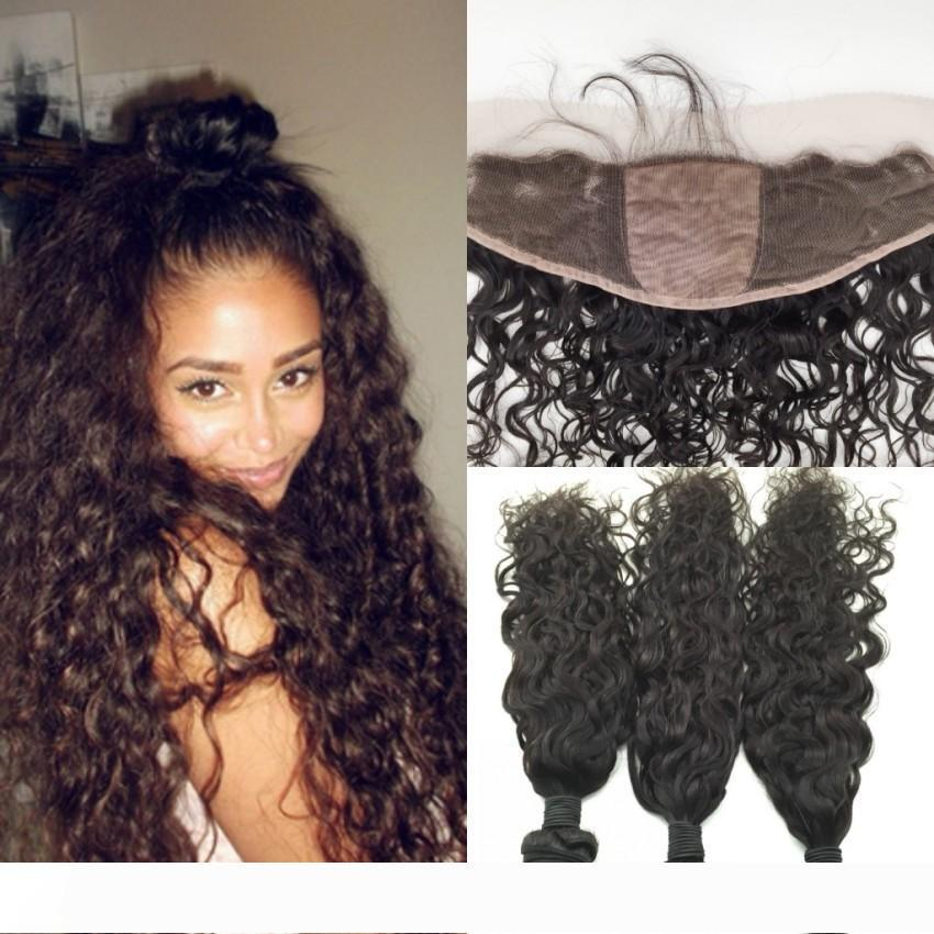 Water Wave Human Hair Bundles With Silk Base Lace Frontal Closure Brazilian Ear to Ear Full Lace Frontal With Bundles 4pcs lot