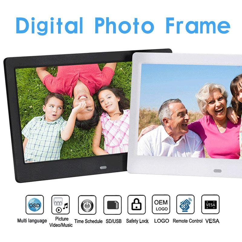 10 inç Ekranı LED Arka HD 1024 * 600 video Döngü Dijital Fotoğraf Çerçevesi Elektronik Albüm Resim Müzik Film Full Fonksiyon İyi Hediye