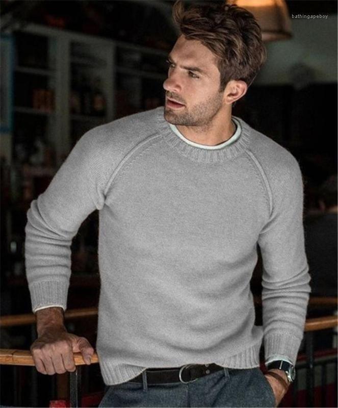 Suéteres de moda color sólido suéter manga larga para hombre casual suéteres cuello de equipo hombres Ropa para hombre del diseñador Loose