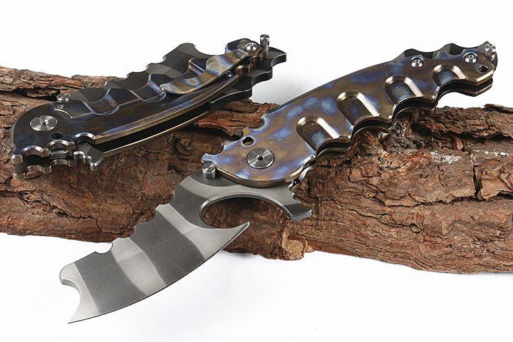 Promotion Flipper couteau pliant D2 lame en titane enduit TC4 alliage de titane poignée roulements à billes Couteaux avec le paquet sac en nylon