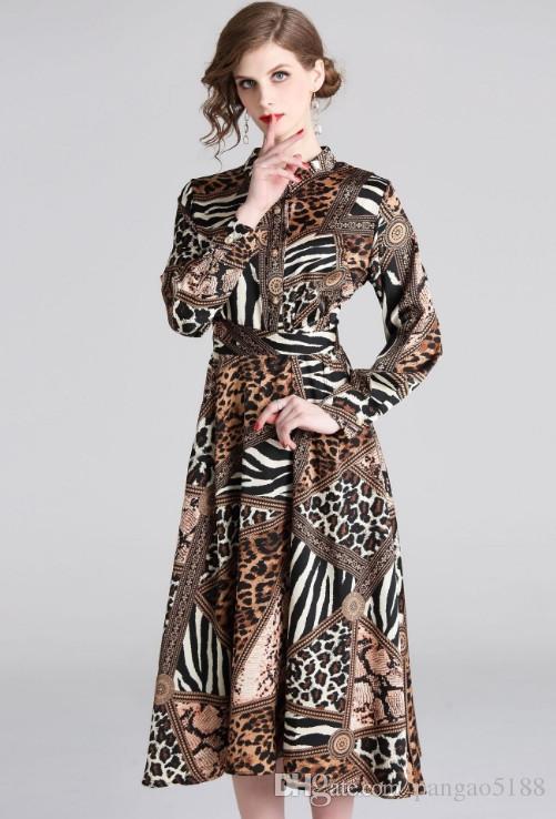 216eff4d1b Diseñador de la marca de gama alta vestido de dama Collar de estilo  euroamericano Estampado leopardo ...