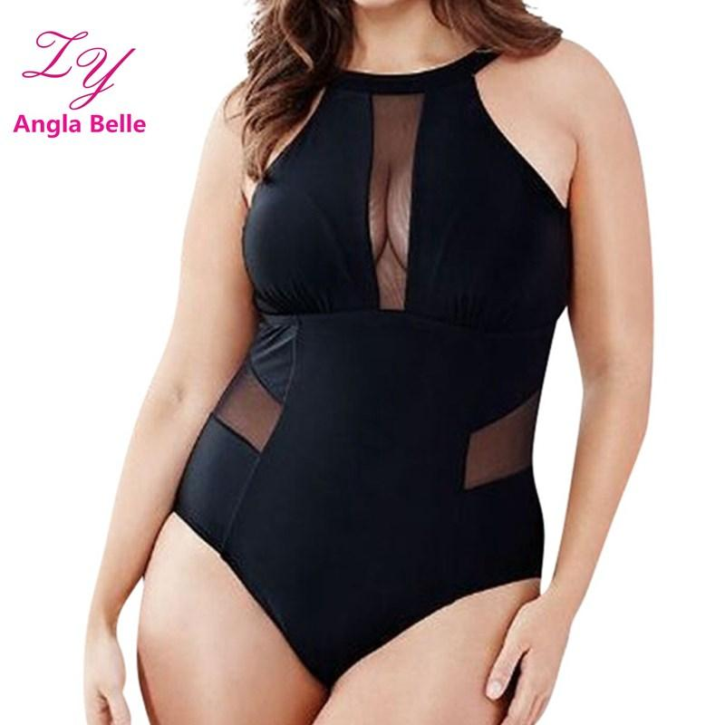 Solid One Pieces Swimsuit Plus Size Swimwear Women Backless Bathing Suits Padded Beachwear High Neck Monokini Mesh Badpak 2188