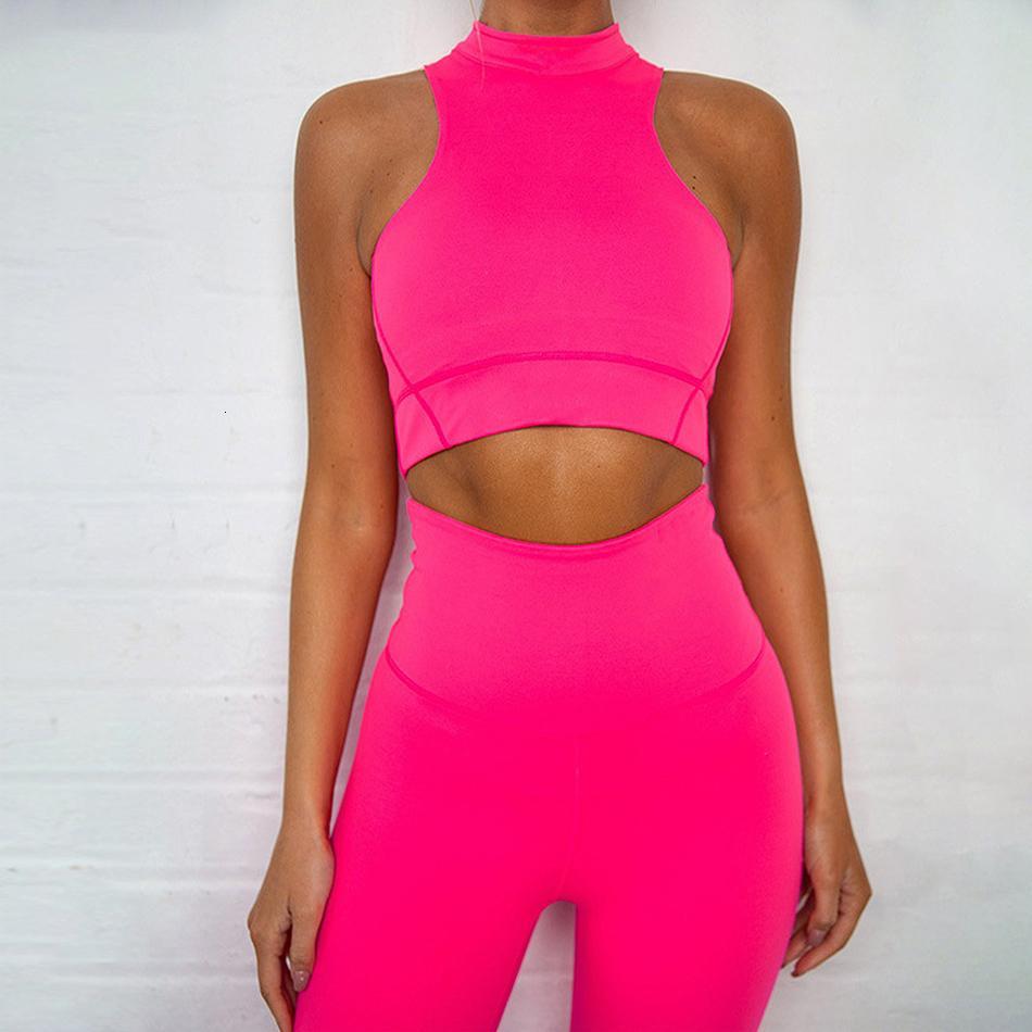 2 pièces Yoga Set taille haute Sport Costume Femmes Neon Sexy Fitness Course Vêtements GYMNASE Zipper Vêtements de sport sans couture caleçon 2019