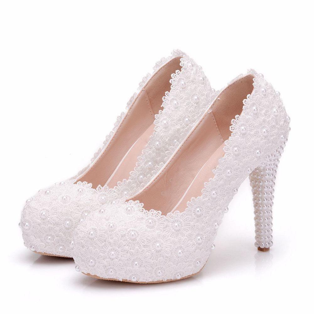 Flor dulce de las mujeres Bombas zapatos de tacones altos zapatos de boda de encaje Plataforma perlas Rhinestone Vestido de novia 11 cm Talón alto
