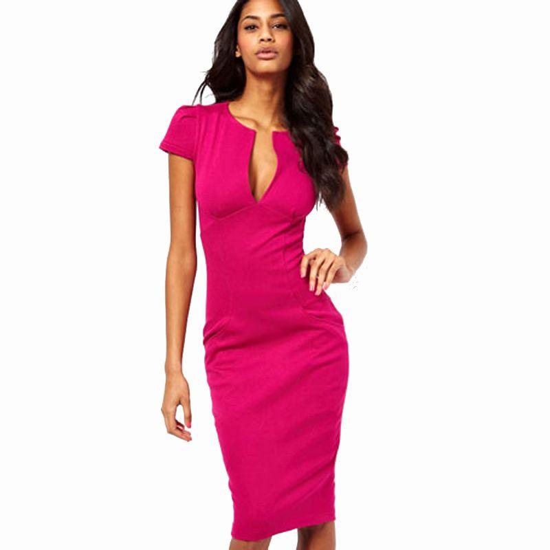Summer Charming Sexy Pencil Dress Celebrity Style Fashion Pockets Knee-length Bodycon Slim Business Sheath Party Dress E521 Y190425