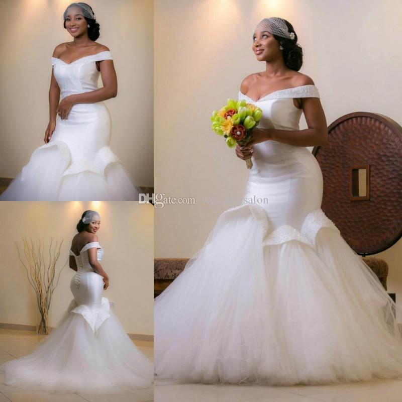 Charming Mermaid Beaded Wedding Dresses Off The Shoulder Bridal Gowns Sequined Trumpet Sweep Train Corset Vestidos De Novia