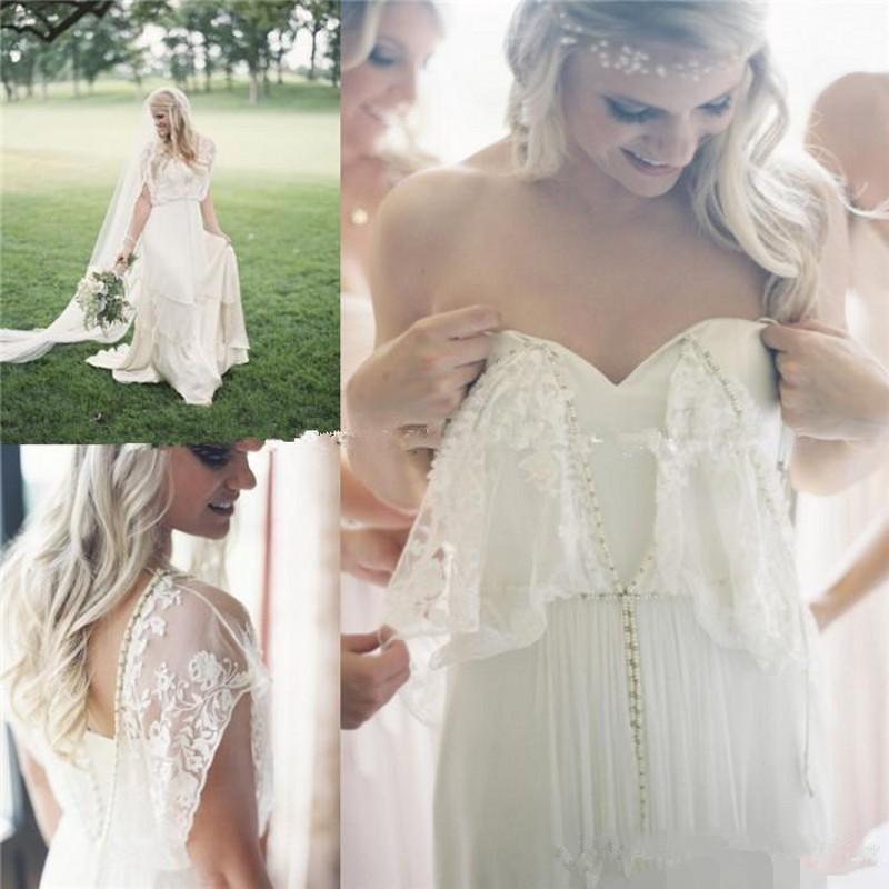2020 New Beach Verão Boho vestidos de casamento com Applique Lace Bohemian vestidos de noiva Sweep Trem Querida Cansado vestido de chiffon baratos