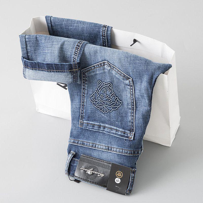 Keyifli Best Seller Yeni Moda Erkek Giyim Özgün Tasarım Erkekler Jeans Düz Pantolon Nakış gevşetin Ve Rahat Aq669