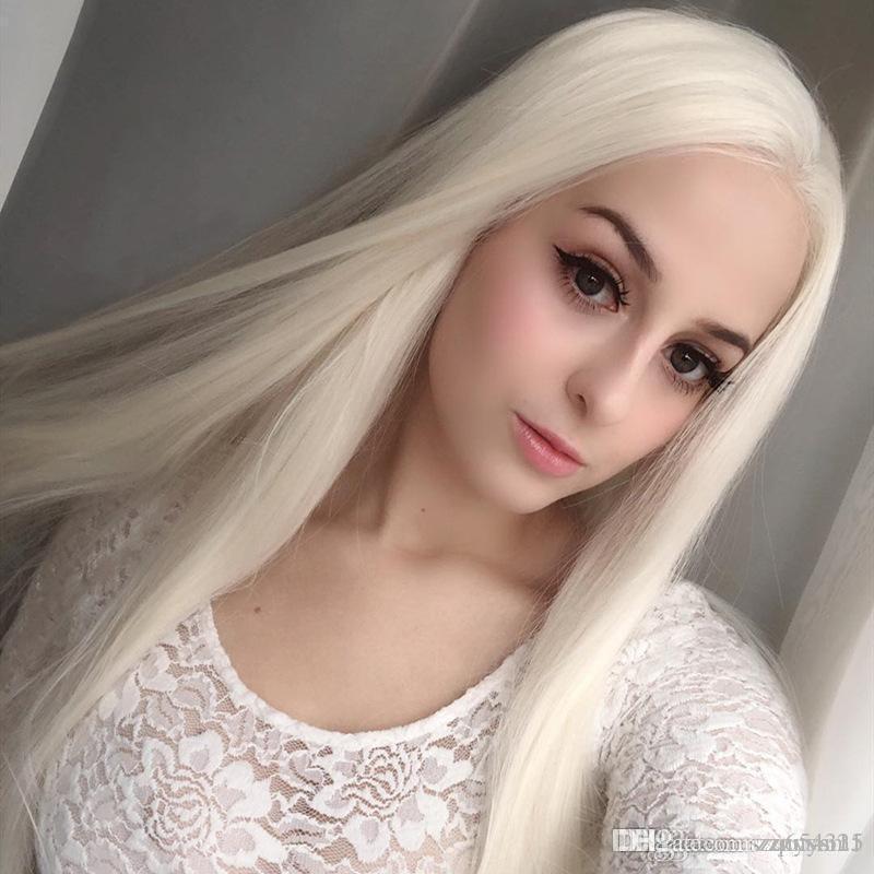 Europa e nos Estados Unidos frente peruca dianteira do laço tendência branco longo cabelo liso Rendas Frente Cabelo HumanoLace Frente Peruca Remy Cabelo Pré Arrancado