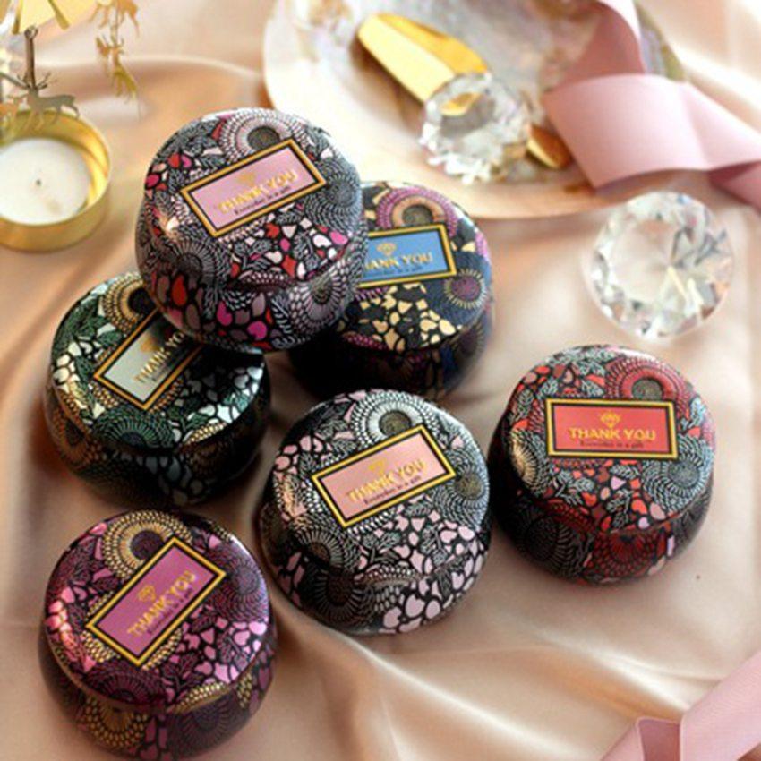 Çiçek Çay Vaka Cam Mumluk Tezhip Özgünlük Teneke Çok renkli Şeker Kutusu Düğün Töreni Hediyeleri Saklama Kutuları ZZA1362a