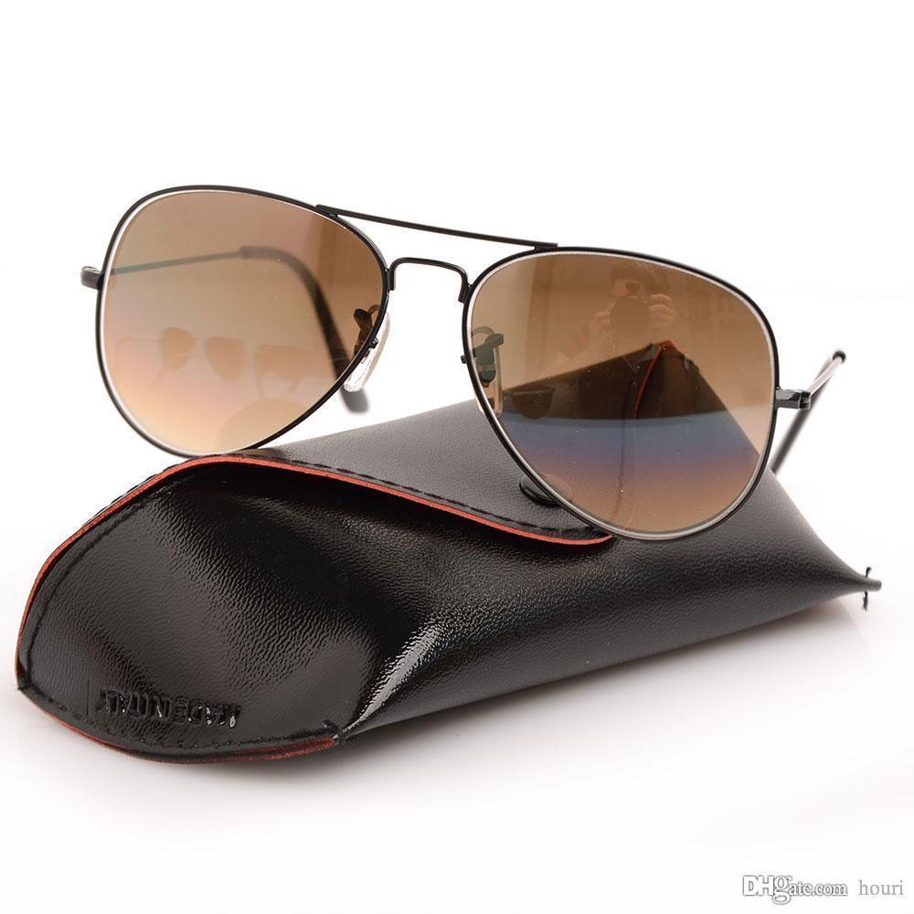 Hohe qualität pilot sonnenbrille marke designer sonnenbrille gradienten glaslinse 58mm männer brillen brillen für frauen brille