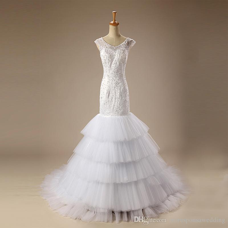 Maravilhosa feminina Branca Trumpet sereia Vestidos de casamento do laço apliques de lantejoulas nigeriano vestidos de noiva Open Back voiles de mariage