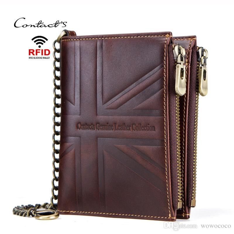 CONTACTS Emboss Genuine Bifold Men Wallets Crazy Horse Leather Multifunctional Short Wallet Card Holder Coin Bag Hasp Double Zipper X448