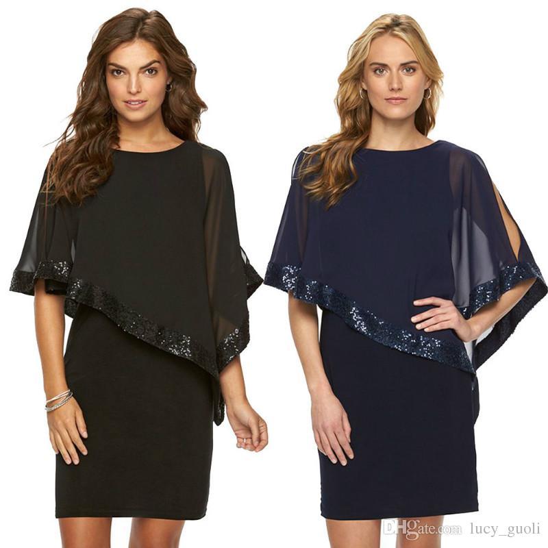 New 2018 Women Summer Chiffon Pencil Dress Fashion Ruffles O Neck Batwing Casual Cover Sleeve Dresses Sequins Stitching Vestidos Clothing