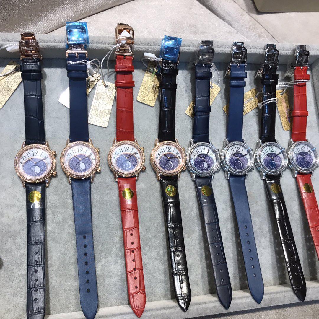 les femmes chronographes de haute qualité taille 34 * Montres-bracelets 9 mm coffret cadeau exquis WSJ066 # 111816 nom xia8806