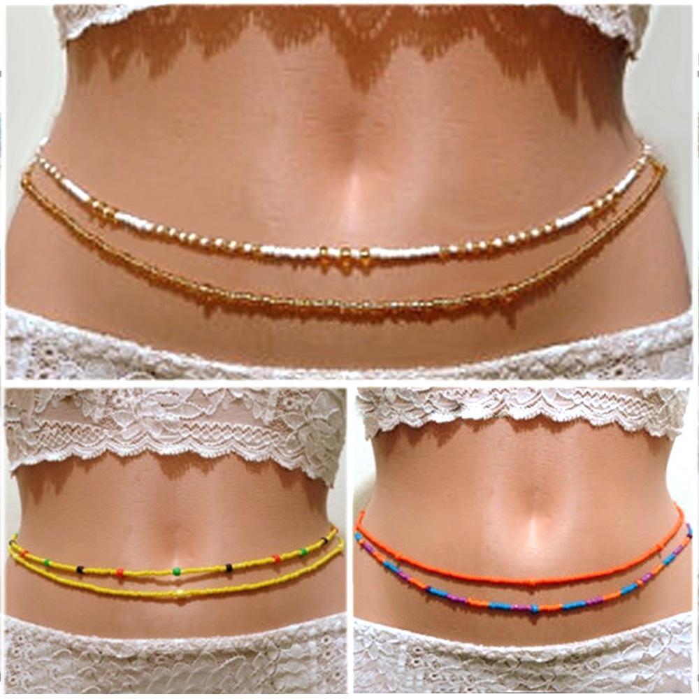 الأزياء والمجوهرات الصيف شاطئ الجسم للنساء قلادة البطن المرأة بوهيميا مزدوج الخرز الجسم سلسلة الخصر سلسلة بيكيني مجوهرات