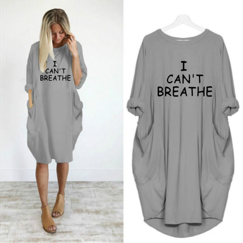 나는 여성 문자 인쇄 드레스 패션 새로운 여성 드레스를 숨 질수 캐주얼 느슨한 긴 소매 의복 활성 여자 새로운 의류