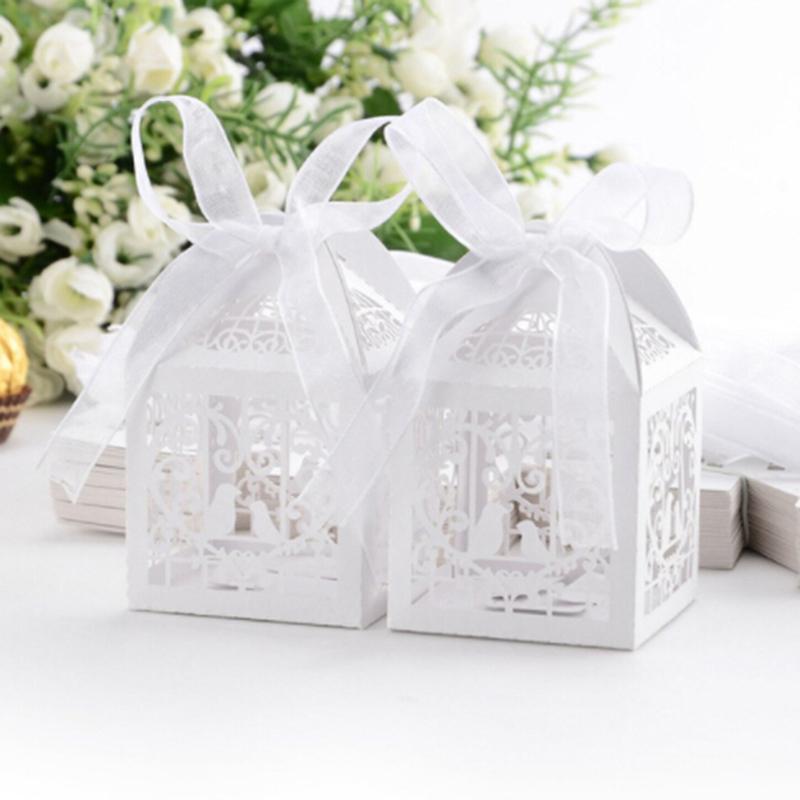 10pcs or blanc évider coeur d'amour papier Laser Cut Candy Box mariage baby shower Party Sac cadeau Fournitures
