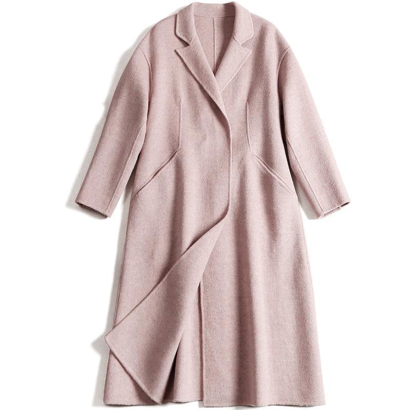Elegante Mujer Abrigo de Lana Largo Invierno Otoño Oficina Abrigo de Buena Calidad Mujer de manga larga Outwear Chaqueta y Abrigos Streetwear