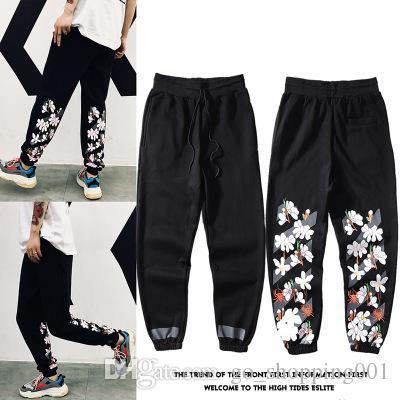 Mens Sakura свободный пучок брюки мужчин и женщин пара брюки новый прилив бренда фейерверк полосы студенческие спортивные брюки