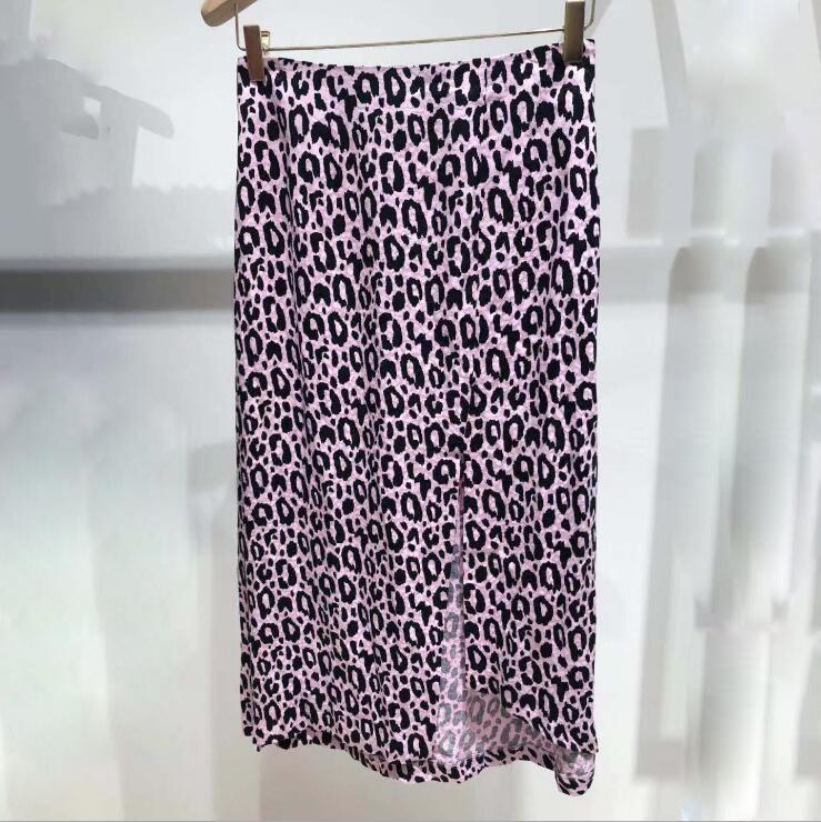 Pelle di leopardo sexy alta Split Gonna Donne vita alta Slim metà polpaccio pannelli esterni delle signore